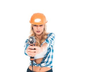 Handy woman in blue shirt and orange hardhat with screwdriver isolated on white stock vector