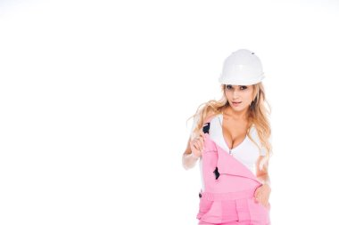 Handy woman in pink uniform and hardhat isolated on white stock vector