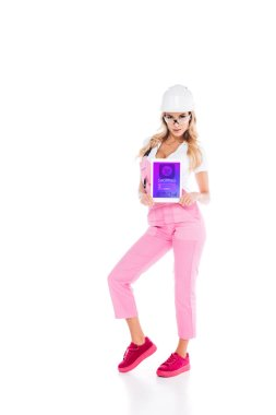 Attractive handy woman in pink uniform holding digital tablet with shopping app on screen on white background stock vector