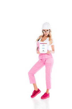 Attractive handy woman in pink uniform holding digital tablet with instagram app on screen on white background stock vector