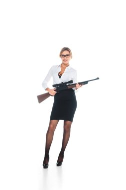 Blonde teacher in blous with open neckline, glasses and skirt holding rifle on white background stock vector