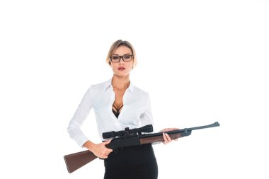 Teacher in blous with open neckline, glasses and skirt holding rifle isolated on white stock vector
