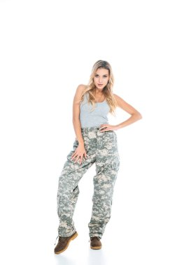 Blonde woman in military clothes on white background stock vector