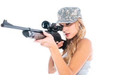 Attractive militarywoman in camouflage cap with rifle isolated on white stock vector