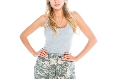Cropped view of militarywoman in grey t-shirt and camouflage pants isolated on white stock vector
