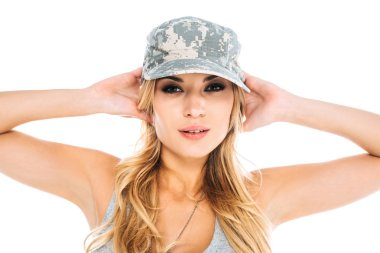 Attractive blonde militarywoman in grey camouflage cap isolated on white stock vector