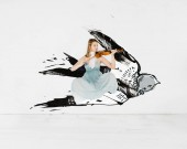 Fotografie floating girl in blue dress playing violin with bird illustration