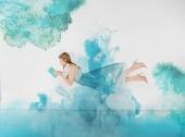 kék ruha, könyv illusztráció felhők olvasó lány
