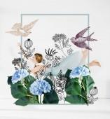Fotografie plovoucí dívka v modrých šatech s ilustrace květin a ptáků