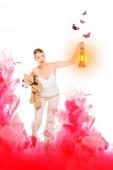 Mädchen im Schlafanzug mit Laterne, Teddybär mit rosa Wolke illustration