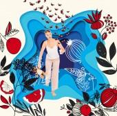 Mädchen im Schlafanzug mit Glas, Teddybär mit gemalten Wiesenblumen illustration