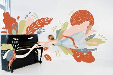 Illustration of floating girl in blue dress playing black piano