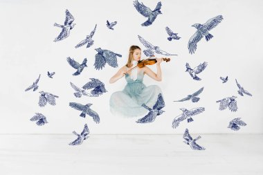 Floating girl in blue dress playing violin with birds illustration stock vector