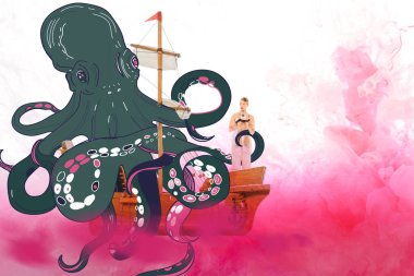 girl holding teddy bear and standing on ship model with octopus illustration