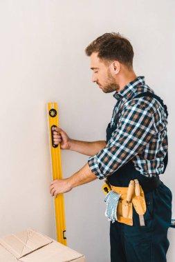 Handsome handyman holding measuring level near wall stock vector