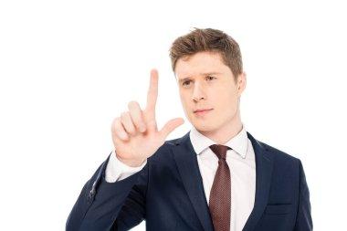 Handsome stylish businessman touching something isolated on white stock vector