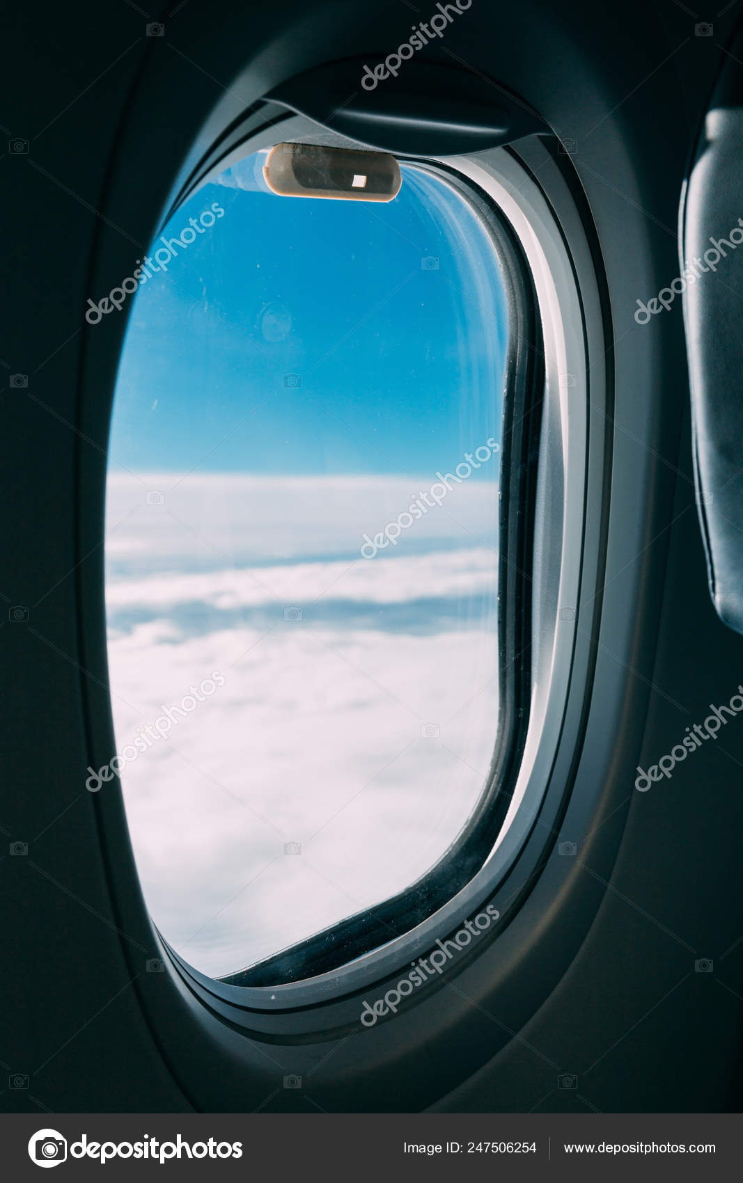 Airplane Window View Blue Cloudy Sky Stock Photo C Igorvetushko