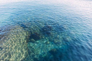 clear transparent sea water on sunny day, barcelona, spain