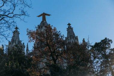 back view of temple expiatori del sagrat, barcelona, spain