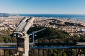 Fotografie observation deck with panoramic view of city and sea, barcelona, spain