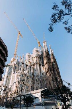BARCELONA, SPAIN - DECEMBER 28, 2018: selective focus of Temple Expiatori de la Sagrada Familia, one of the most famous buildings of Barcelona, built by Antoni Gaudi, on blue sky background stock vector
