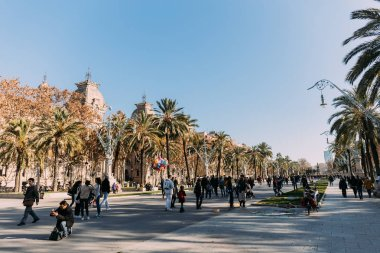 BARCELONA, SPAIN - DECEMBER 28, 2018: people walking along wide alley with tall green palms