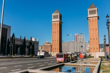 BARCELONA, SPAIN - DECEMBER 28, 2018: gorgeous Torres Venecianes, one of the most beautiful city landmarks