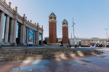 BARCELONA, SPAIN - DECEMBER 28, 2018: Plaza de Espana with gorgeous Torres Venecianes, one of the most beautiful city landmarks
