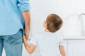 back view of preschooler holding hands with father at home