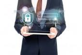 Fotografie verkürzte Ansicht der Geschäftsmann im Anzug mit digital-Tablette in Händen mit Internet Security-Symbole oben