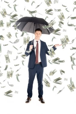 Smiling businessman in suit with umbrella gesturing under money rain stock vector