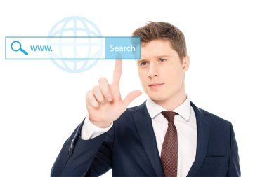 Successful businessman in suit pointing with finger at search button illustration on white background stock vector