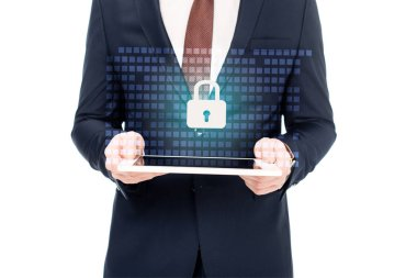 Partial view of businessman holding digital tablet in hands with internet security icon above stock vector
