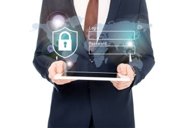 Cropped view of businessman in suit holding digital tablet in hands with internet security icons above stock vector