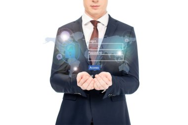 Cropped view of businessman in suit with outstretched hands and internet security illustration above stock vector