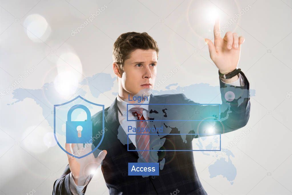 Handsome businessman in suit pointing at internet security illustration in front stock vector
