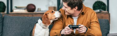 Panoramic shot of smiling young man with gamepad sitting on sofa and looking at dog stock vector