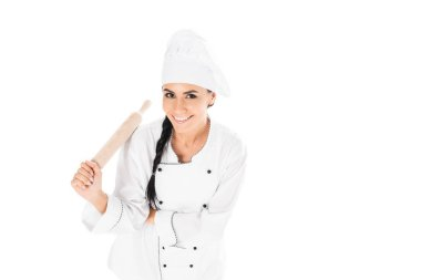 Chef in hat holding rolling pin isolated on white stock vector