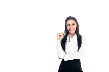 Attractive businesswoman with glasses looking away with smile isolated on white