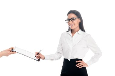 Smiling businesswoman in glasses signing contract isolated on white stock vector