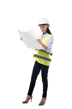 Full length view of concentrated engineer in safety vest looking at blueprint isolated on white stock vector