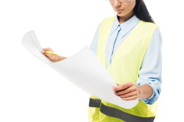 Cropped view of concentrated engineer in safety vest looking at blueprint isolated on white stock vector
