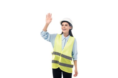 Laughing engineer in safety vest waving hand isolated on white stock vector