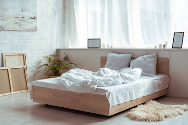 interior of bedroom with cozy bed, pillows, blanket, pictures and plant