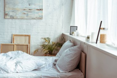 modern bedroom with cozy bed, pillows, blanket, pictures and plant