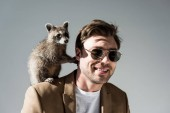 handsome man in sunglasses with adorable raccoon on shoulder on grey