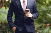 levágott kilátás üzletember a ruha és a nyakkendő gazdaság kávét menni orangery