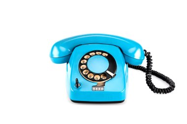 Blue vintage telephone with handset and wire on white