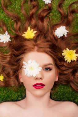 Top view of beautiful young woman with red lips and chrysanthemum flowers in hair on grass stock vector
