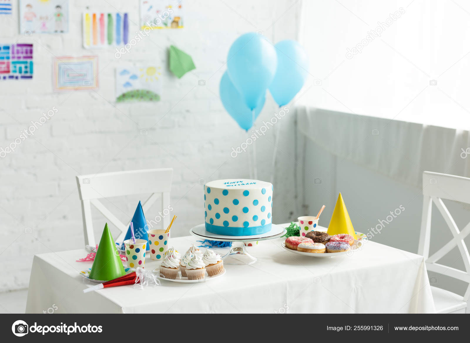 Festive Cake Party Caps Table Room Decorated Birthday Party Air